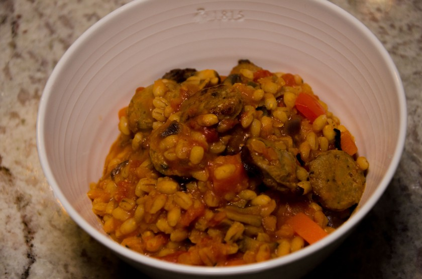 A bowl of sausage chilli and barley risotto