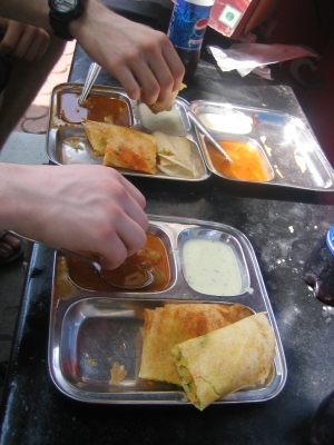 Tucking into Massala Dosa in Mumbai in 2008