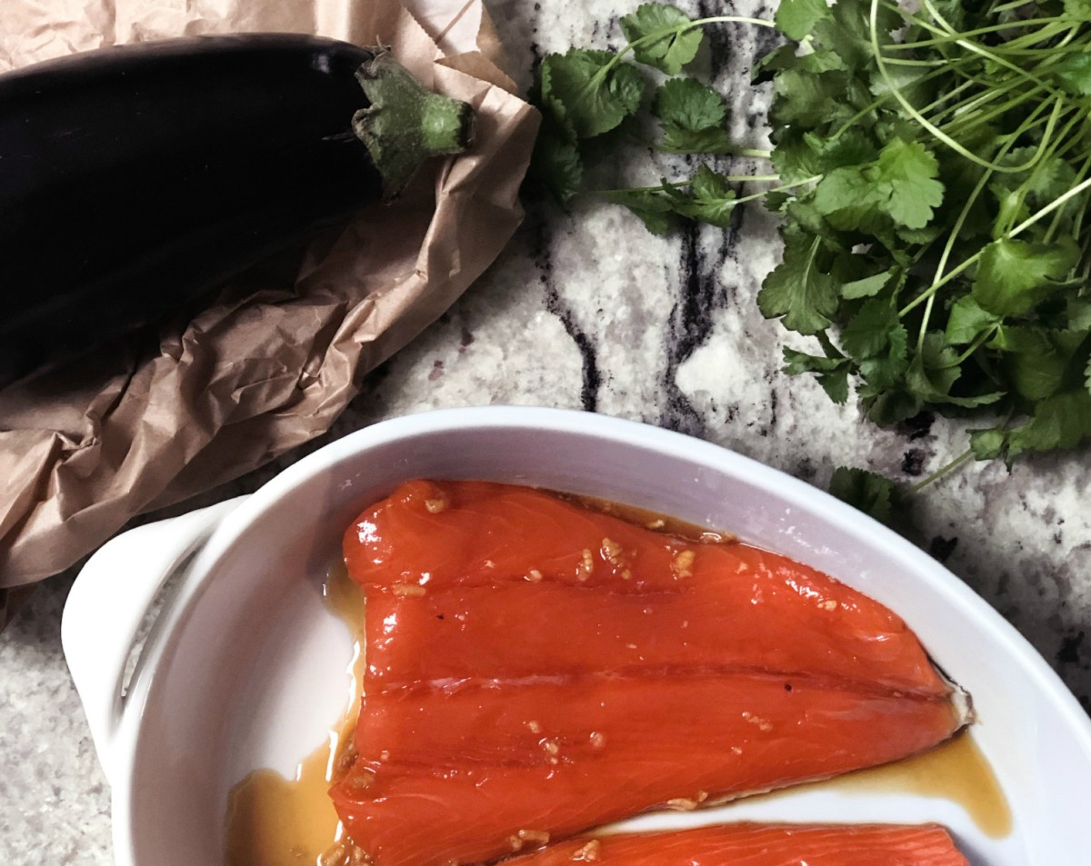 Recipe: Soy and honey baked aubergine with salmon